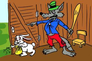 A gonosz farkas elzavarta a nyuszit a házából