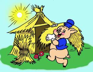 Az első kismalac szalmából épített házat