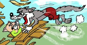 A farkas rávetette magát a védtelen kismalacra