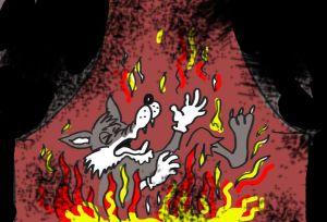 A farkas beleesett a tűzbe és ropogósra sült
