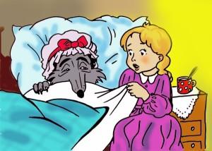 A farkas nagymamának álcázva, és Piroska
